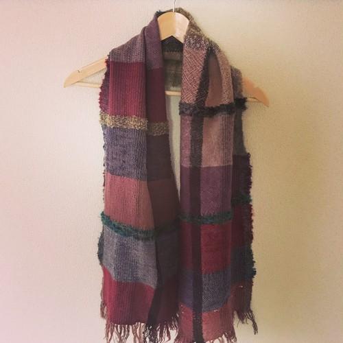 手織りマフラー ウール 0012 handweaving scarf
