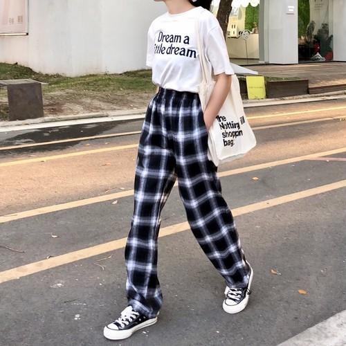チェック柄 カジュアル パンツ【0120】
