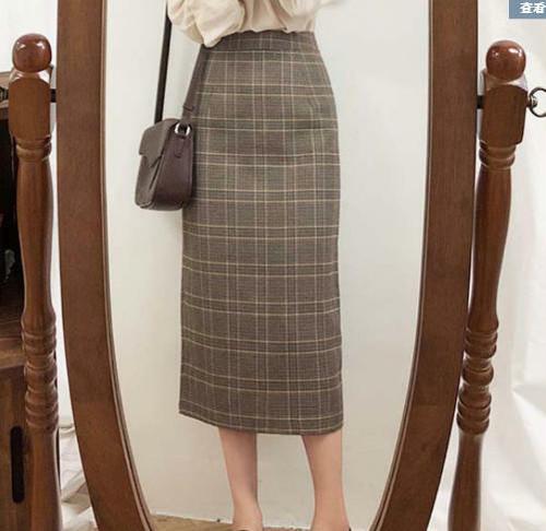 2色 スカート チェック ロング ミモレ丈 大きいサイズ ハイウエスト レトロ 大人可愛い 韓国 オルチャン ファッション