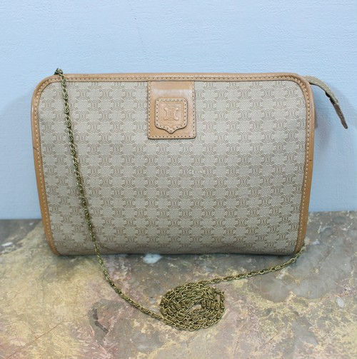 .OLD CELINE MACADAM PATTERNED CHAIN SHOULDER BAG MADE IN ITALY/オールドセリーヌマカダム柄チェーンショルダーバッグ 2000000031750