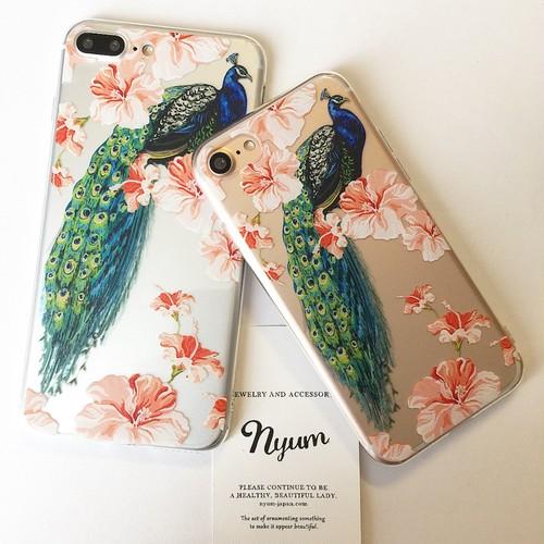 【iphone7/8/7plus/8plus】クジャクとお花のiphoneケース フラワー
