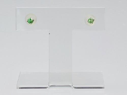 K18WG 0.2ctグリーンガーネットピアス ○