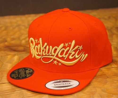 RAKUGAKI Main logo Snap Back Cap Red x Gold