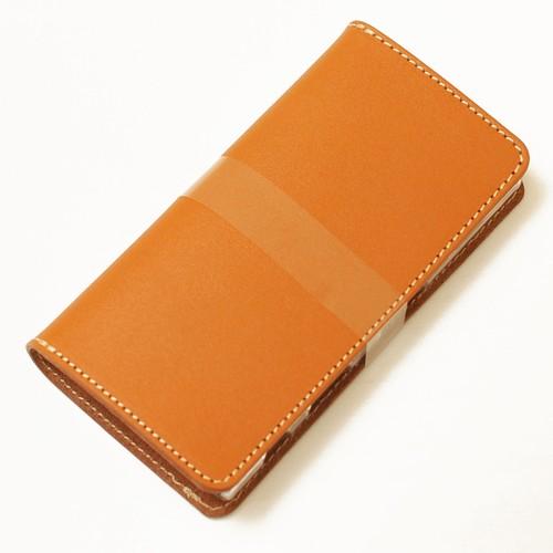 ほぼ全機種製作キャメル手帳型スマホケース国産牛革 iPhone XPERIA Galaxyなど