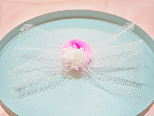 tulle ribbon flower hair elastic
