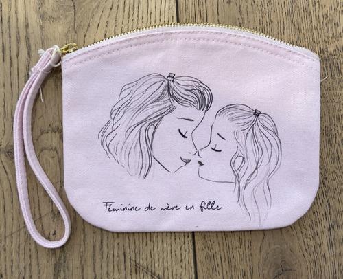 フランス小物 オーガニック・コットン100% ポーチ『ROSE FEMININE DE MERE EN FILLE』