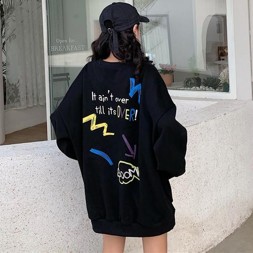【トップス】ファッションラウンドネックプリント2色パーカー