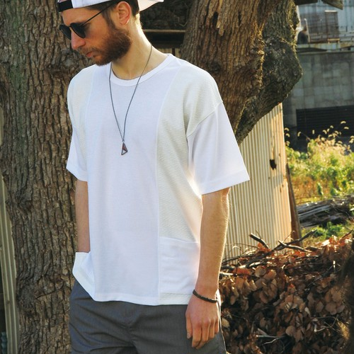 QUOLT / クオルト |【SALE!!】SWITCH KNIT POCKET TEE - WHITE
