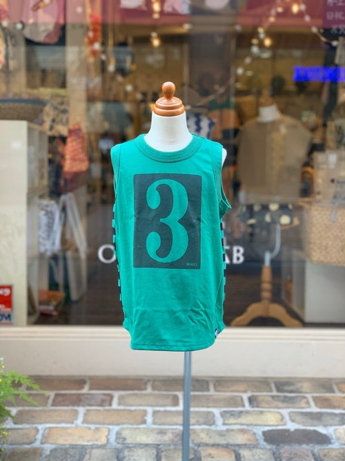 KIDS:NEEDLE WORKS【ニードルワークス】Number Tank-Top(GREEN/80〜150cm)タンクトップ