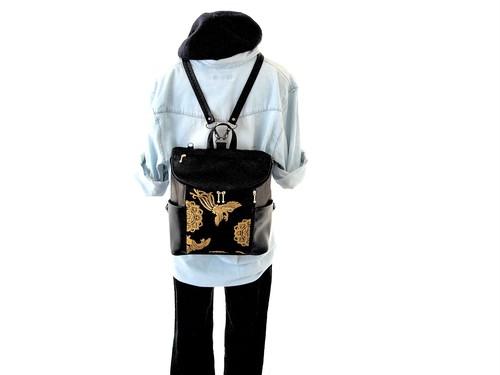 【衣絵】超軽量約350gの金襴(きんらん)3WAYリュック 華紋に鳳凰 黒