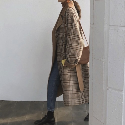 Re:Wool 80% Hand made Checked Long Coat   147  送料無料