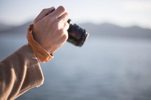 [男女]一眼レフ/ミラーレス/カメラ用 レザーハンドストラップ/カメラストラップ/ハンドグリップ