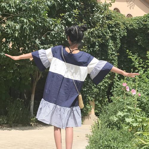 【新作10%off】wide stripe long dress 2676
