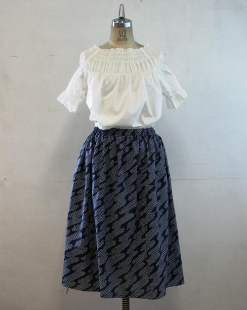 浴衣地  匹田模様のサイズゴムスカート Fサイズ