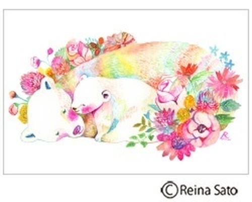 花とクマの親子[ポストカード]