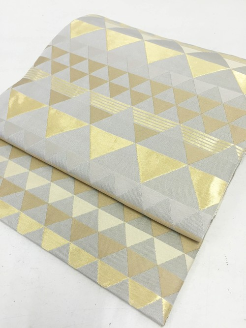 西陣織帯 鱗(ウロコ) 金×白