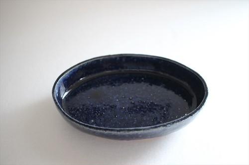 松浦コータロー|灰ルリ釉楕円深小皿
