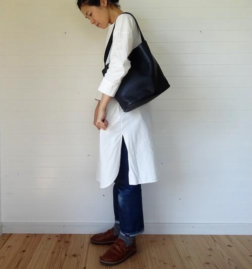 シンプルバッグ(小)紺×ライトブルーグレー 53cm