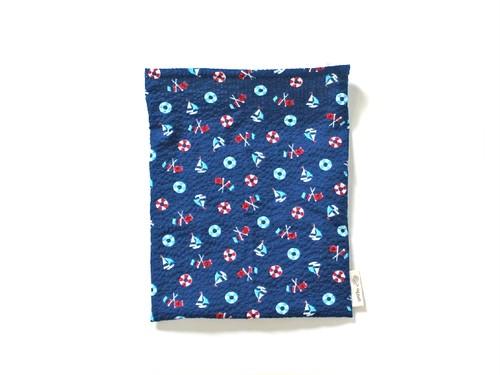 ハリネズミ用寝袋 M(夏用) 綿リップル×スムースニット マリン ブルー