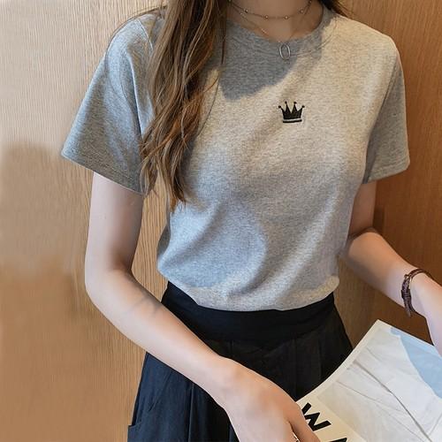 タイト シンプル 可愛い ラウンドネック 半袖 刺繍 オシャレ 合わせやすい Tシャツ・トップス