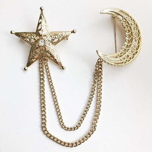 star & moon chain brooch[b-235]