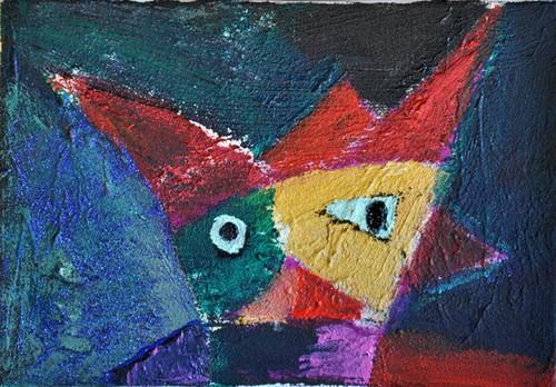 赤い帽子の精(アクリル絵画)