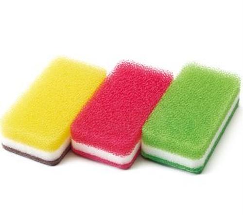 台所用スポンジ 3色セット抗菌タイプS (イエロー・ローズ・ ライトグリーン)