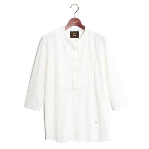 Pin tuck Henry Tee -White