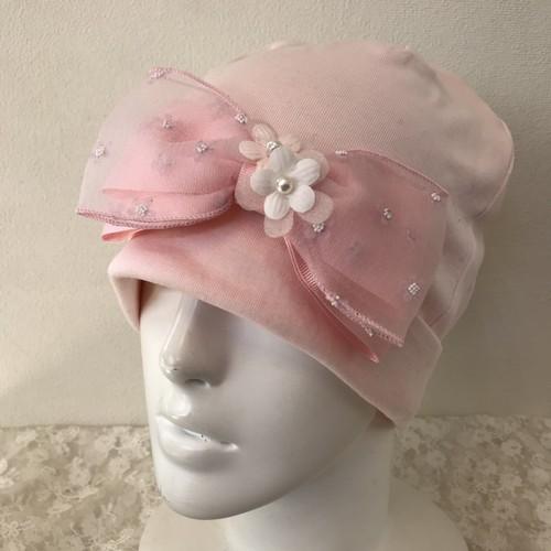 お花とチュールリボンのケア帽子 ピンク5