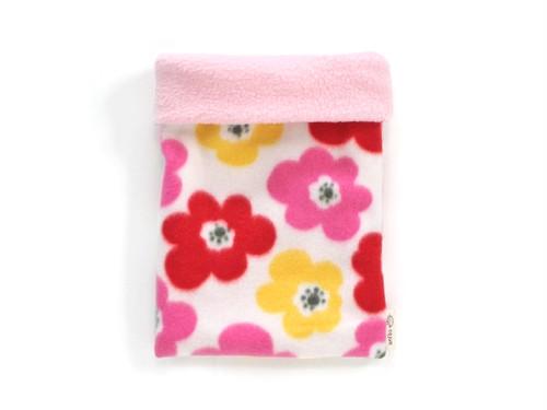 ハリネズミ用寝袋 M(冬用) フリース×フリース フラワー ホワイト / Regular Snuggle Sack for Hedgehog