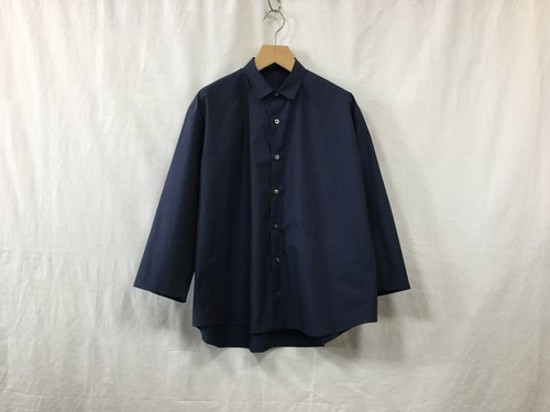 "semoh""3/4 sleeve wide shirt navy"""