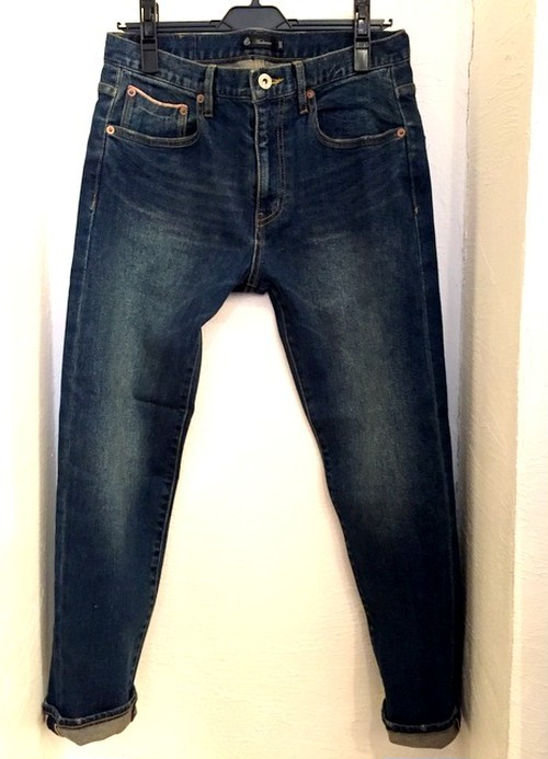 Vintage Washed Big Selvedge Tight Fit Straight Stretch Denim Ancle Pants Navy Indigo