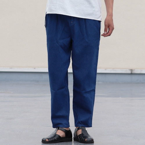 Linen Blended Denim Wide 2 Tuck Ankle Pants Blue Indigo