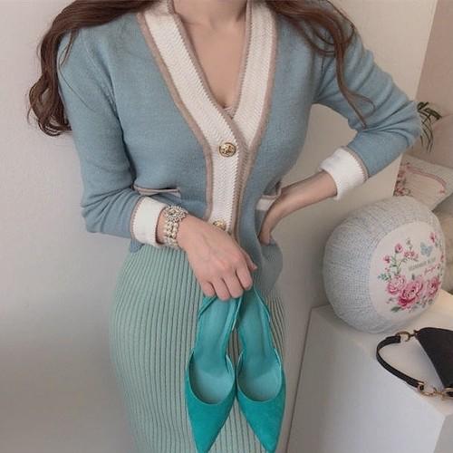 bicolor cardigan 2color