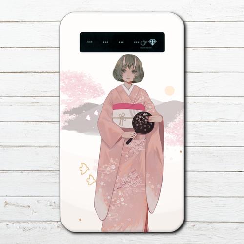 #060-001 モバイルバッテリー 桜 かわいい 和風 人外 花柄 iphone スマホ 充電器 タイトル:桜の頃 作:三好まを
