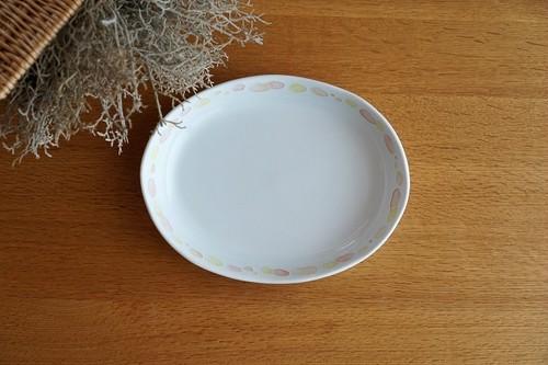 砥部焼/水玉カレー皿(大)/赤/大西陶芸