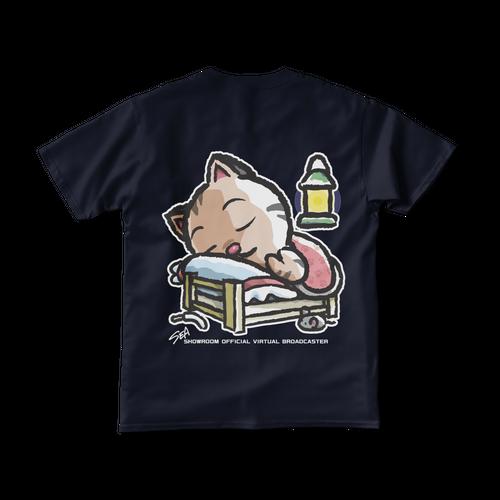 <ネイビーTシャツ 背面>おやすみーちゃん