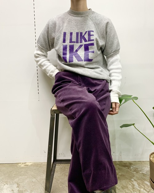 "1980s MADE lN USA ""I LIKE IKE"" short sleeve sweat 【M位】"
