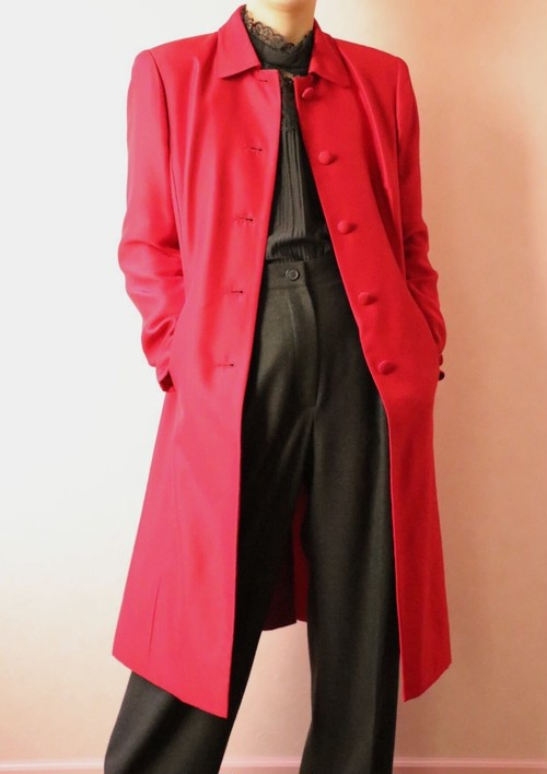 ANN TAYLOR red silk coat