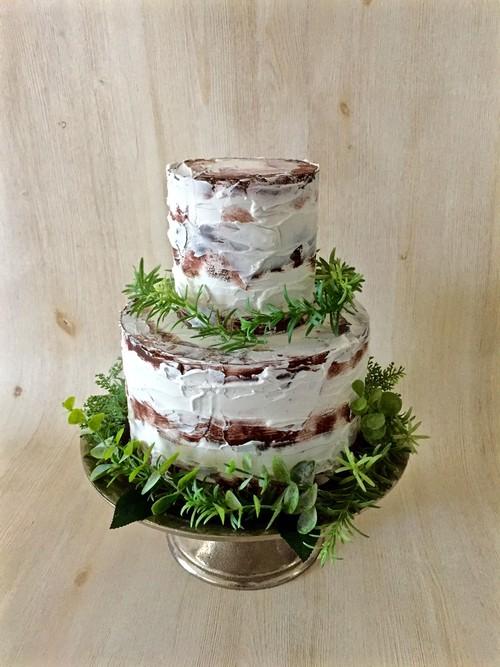 イミテーションケーキ*ブラウンホワイト2段*[送料無料]