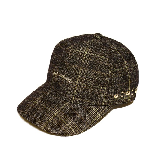 Enharmonic TAVERN x CA4LA Enharmonic Studs Cap Wool Bright Boucle Check -khaki <LSD-AH3AC2>