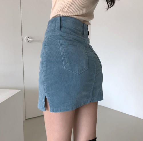 corduroy mini skirt 2color