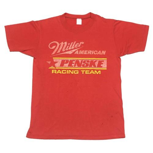 80's ミラーレーシングチーム ビンテージ Tシャツ Miller RACING TEAM(赤,M)