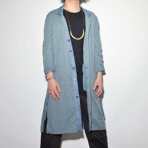 "Leather×Cotton ""Coat""- Smoky Blue"
