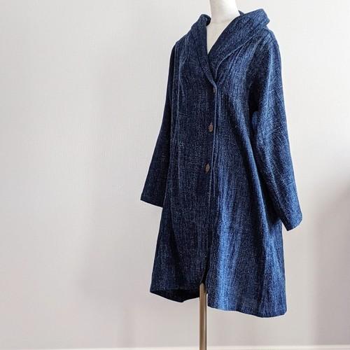 チェンマイ イサーン藍染め手織りのフード付コート