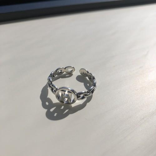 H logo ring silver