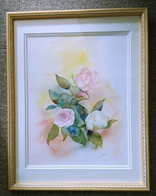 「薔薇」水彩画