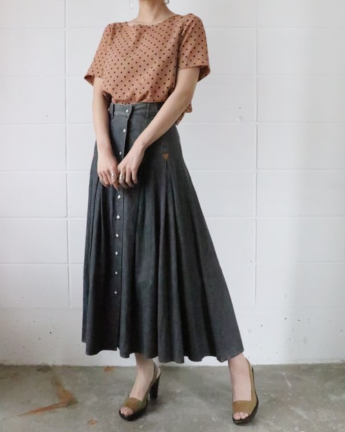charcoal gray gored skirt