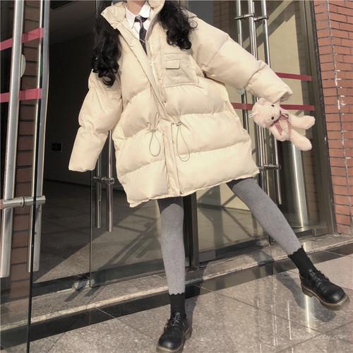 【アウター】ファッションフード付き無地ダウンコート