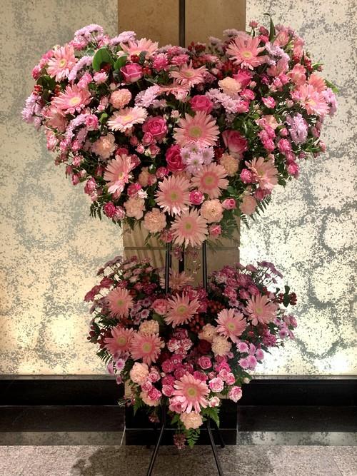スタンド花 2段【ピンクハート】 大阪市内無料配送エリアあり 祝い花